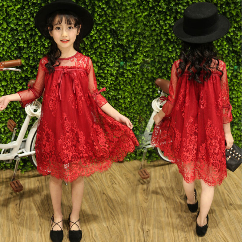 где купить New Autumn Girl Dress Lace Summer 2017 Fashion Children Princess Dress Kids Clothes for Girls Costume Sweet Red Pink Grey Color по лучшей цене