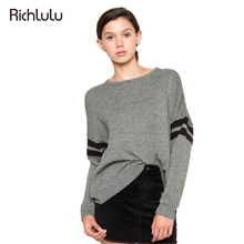 RichLuLu Autumn Fashion Women Sweaters Casual Solid Color Loose Long Sleeve Sweaters Streetwear O-Neck Female Sweaters