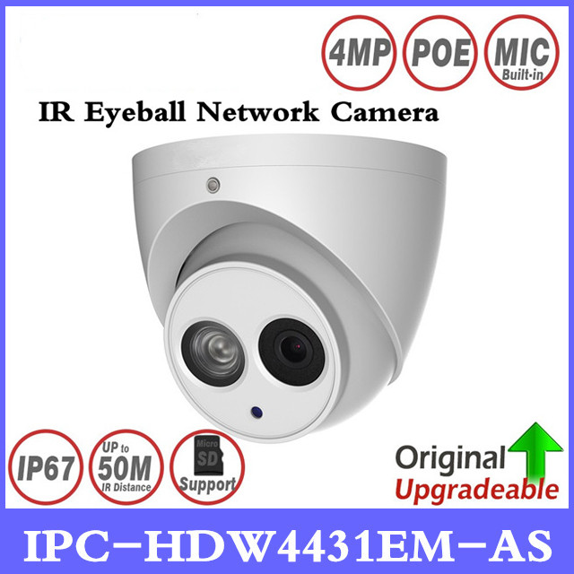 DH IPC-HDW4431EM-AS 4MP IR Eyeball Network Camera Built-in Mic 50m IR Support Micro Sd Card Smart Detection IP67 H265 WDR PoE