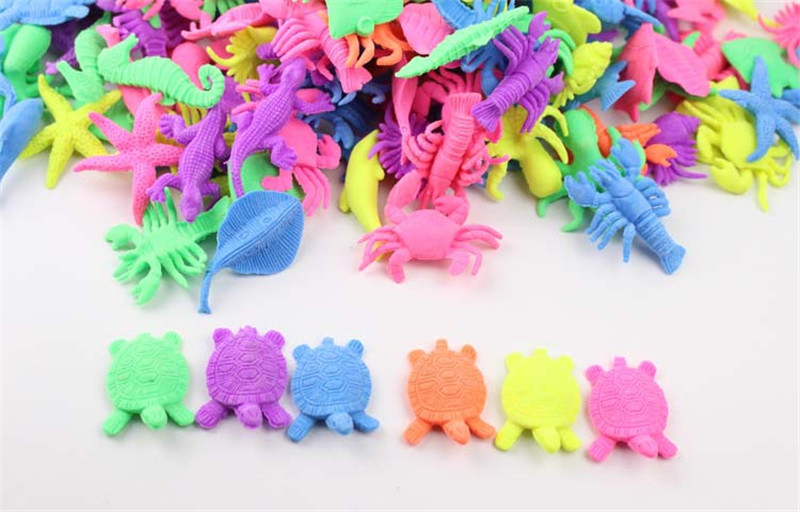 20/50pcs/pack Growing In Water Ocean Animal Expanding Toy Water Soaked Biology Rubber Toys Ocean Animals Toy Soaking Expansion