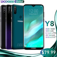 DOOGEE Y8 Smartphone MTK6739 3GB di RAM 16GB di ROM Android 9.0 FDD LTE 6.1 pollici 19:9 Waterdrop Schermo LTPS 3400mAh Dual SIM 8.0MP Cam