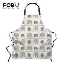 FORUDESIGNS Funny Kitchen Apron Cute Elephant Printed Sleeveless Polyester Cooking Aprons for Men Women Home Cleaning Tools grid pattern cute polyester kitchen apron red brown multicolored
