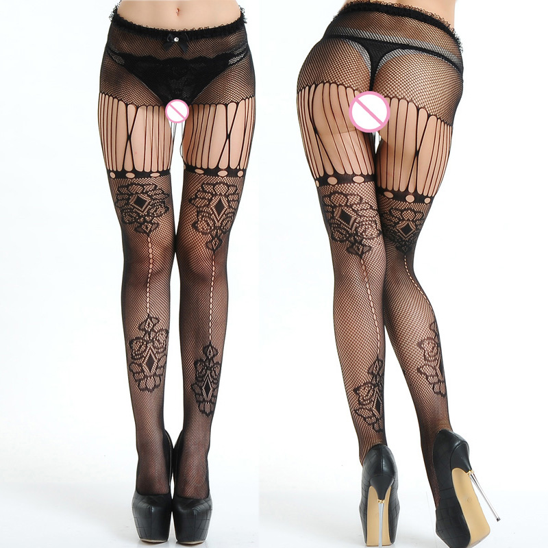 Buy 2017 Hot Sexy Women Long Sexy Stockings Pantyhose Mesh Fishnet Stockings black Thigh High Stocking open crotch sexy lingerie 030