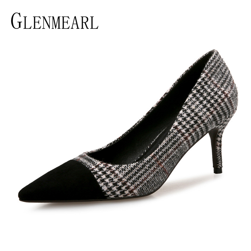 Women High Heels Shoes Brand Pointed Toe Woman Pumps Stripe Office Lady Dress Shoes Thin Heels Black Spring Autumn Female Pumps bigtree summer autumn women pumps elegant show thin heels stiletto suede pointed side hollow female high heels shoes g3168 6