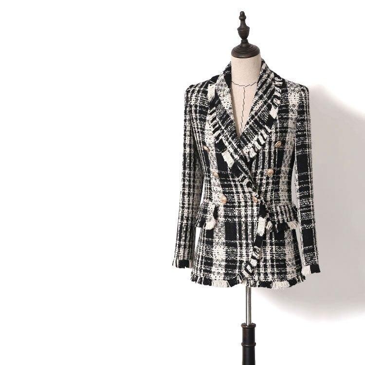 Tweed Nouvelle 2019 De Pull Blazers Mode Couleur Femmes Double Printemps Plaid Breasted Gland Noir Capuche Frange Blazer À Bouton Or TJlcF1K