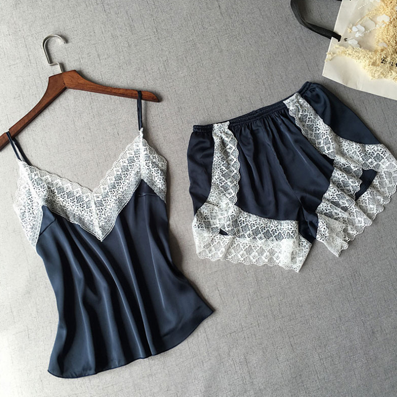 1Set Summer Sexy Patchwork Lace Women Shorts   Pajama     Set   Breathable Spaghetti Strap High Waist Shorts Female Lingerie Nightwear