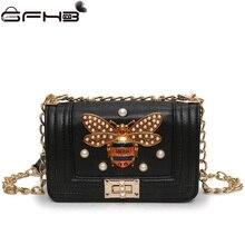 Фотография Luxury Designer Bee Women Handbags Pearl Diamonds Messenger Bag High Quality 2017 Fashion Chains Shoulder Bag Luis Vuiton Canta