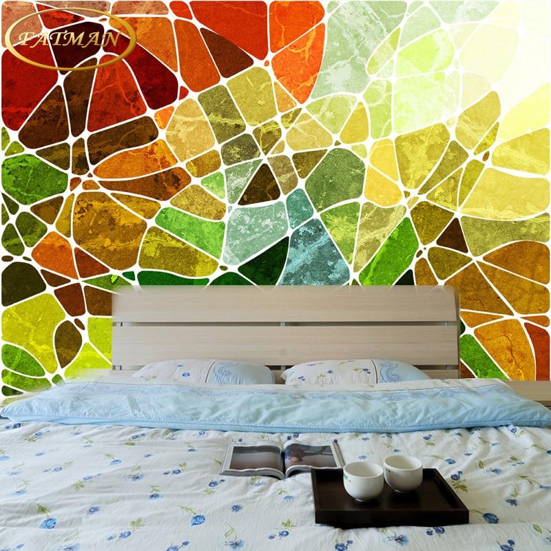 Custom 3D foto papel pintado mural personalidad geométrica abstracta ...