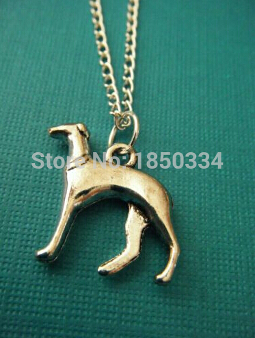 10pcs Fashion Vintage Silver Greyhound Dog Charms Statement Collar Choker Short Chain Necklaces Pendants Jewelry B241