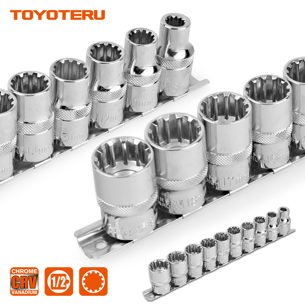10PCS Gear Lock Sockets Wrench Auto Repair Tool Hand Tool Set Socket Set 1/2 Inch Size 8mm-19mm