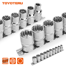 ФОТО 10pcs gear lock sockets wrench auto repair tool hand tool set socket set 1/2 inch size 8mm-19mm