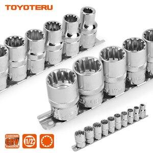 Image 1 - 10PCS Gear Lock Sockets Wrench Auto Repair Tool Hand Tool Set Socket Set 1/2 Inch Size 8mm 19mm