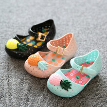 Mini sed girl sandals 2018 new hot sale plain rain boot baby summer jelly pineapple fruit children toddler kids shoes zapatos(China)