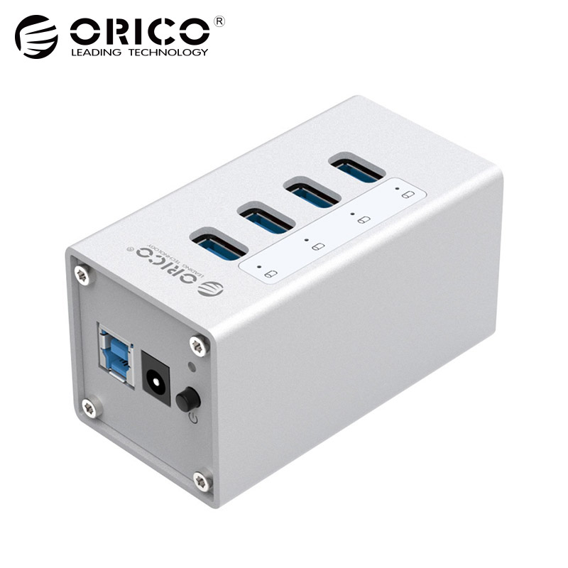 ORICO Aluminum 4 Port USB 3.0 HUB High Speed 5 Gbps Multi USB Splitter Laptop Accessorie with 12V Power for Computer PC (A3H4)