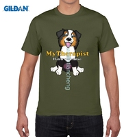 GILDAN Moda Komik t shirt Mens Retro Köpekler için Vardır Bizim arkadaş T-shirt % 100% Pamuk Avustralya Çoban Kırmızı Tri Atlama Guy Üst