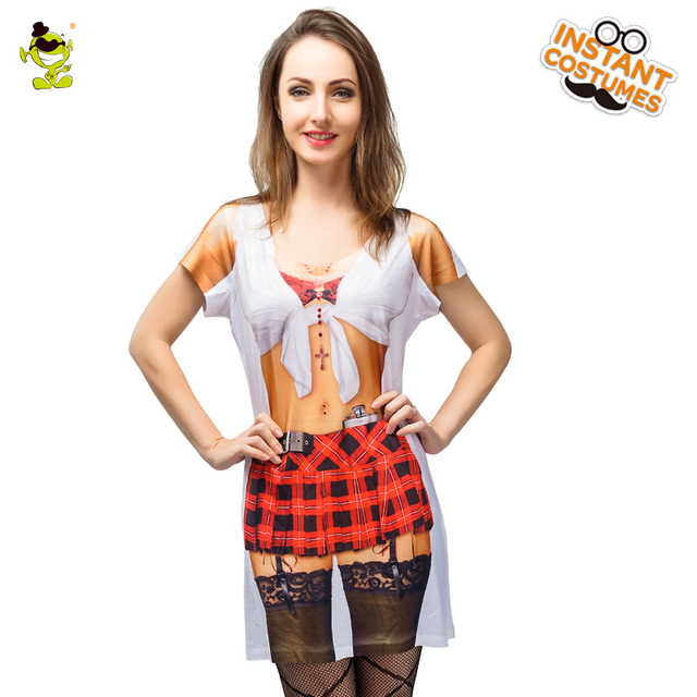Brand New 3d Printed Sexy Waitress T Shirt Costumes Adult Women Carnival Party Hot Waitress Girls Cospaly Fancy Suits