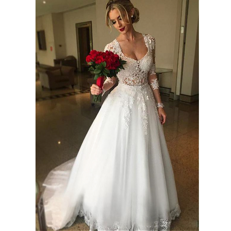 Pearl Wedding Gowns: 2019 Ball Gown 2 In 1 Wedding Dresses Detachable Train