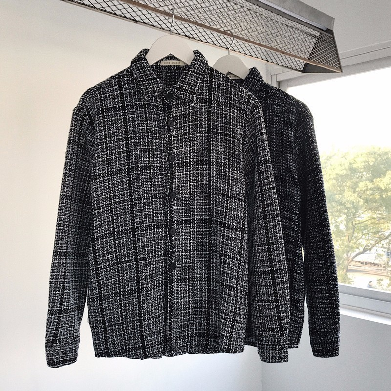 2018 Spring Newest Men's Fashion Tide Japanese Classic Style Lattice Thick Long Sleeves Shirts Loose Casual 2 Color Coats S-XL