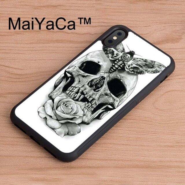Us 434 5 Offmaiyaca Czaszka Róża Tatuaż Szkic Etui Do Iphone X Wzorzyste Pełna Ochronna Futerał Na Telefon Tpu Etui Na Iphonea X Tylna Pokrywa W