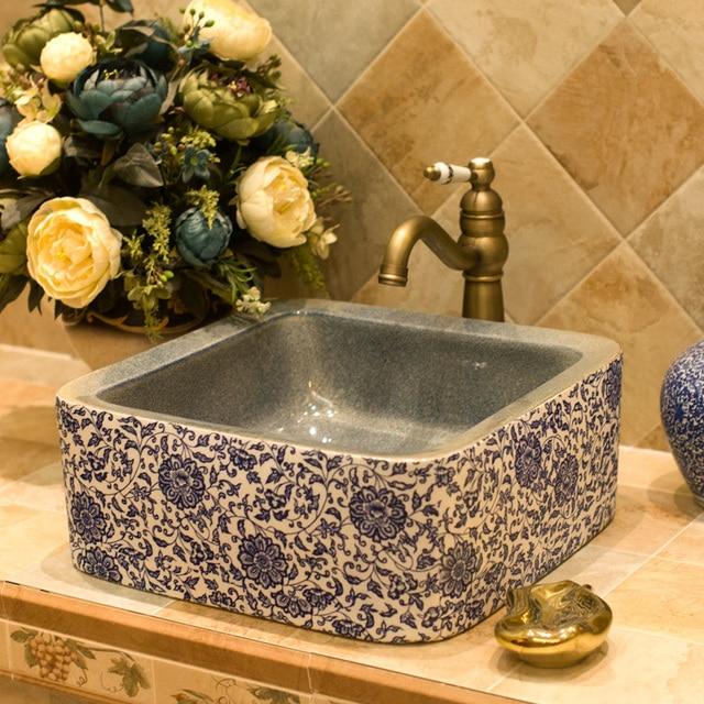 China Art Lavabo Bathroom Vessel Sinks Round Counter Top Modern Ceramic Wash Basin