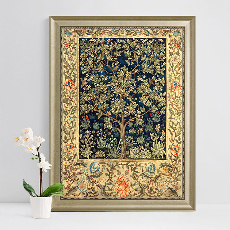 Needlework,DIY DMC Cross Stitch Set Full Embroidery Kit, Classic Lucky Tree Flower Pattern Cross-stitch Gift, Home Wall Decor