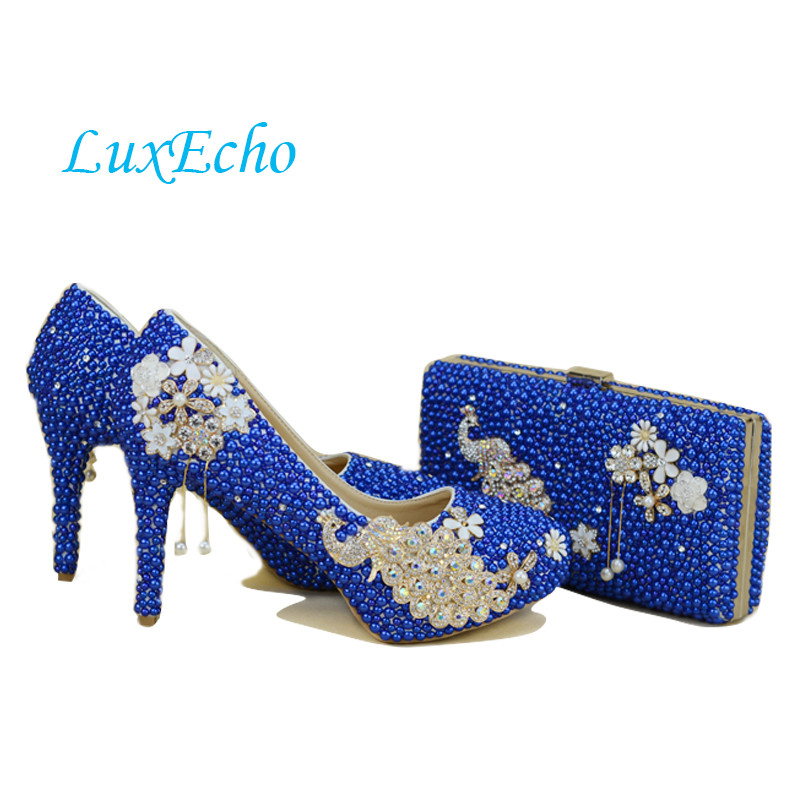جديد وصول الطاووس الملكي الأزرق اللؤلؤ الماس الأحذية امرأة حزب / الزفاف مضخات أحذية عالية الأزياء حجر الراين العروس أحذية النساء