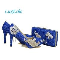New arrival Peacock Royal Blue pearl diamonds shoes Woman's Party/Wedding Pumps High shoes Fashion rhinestone Bride shoes women