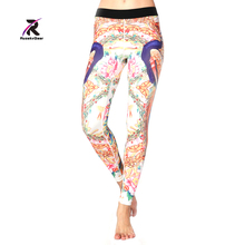 Yoga Printed Leggings and Capris Running Compression Tights Female Elastic Sport Fitness Gym Trousers Free Shipping HK3618