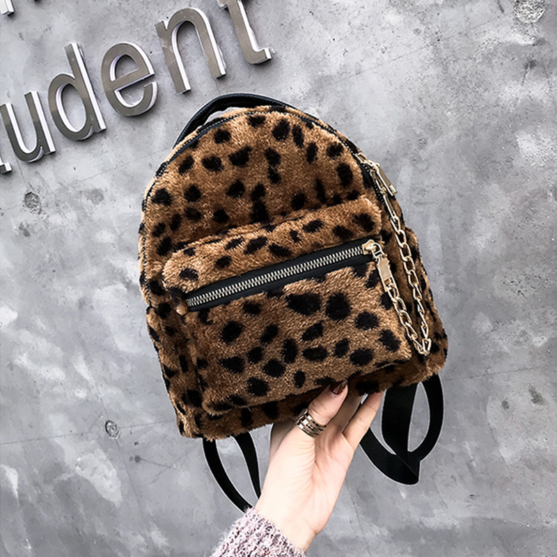 Leopard Print Small Backpacks For Women 2019 Mini Cute Backpack Kids Fashion Back Pack Travel Chain Plush Bags Winter Bag