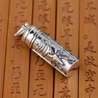 The Buddhist eight S925 sterling silver pendant accessories gawu box can open the Shurangama mantra text Unisex