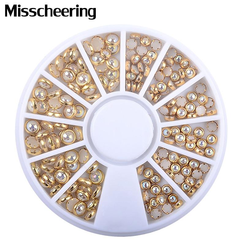 цена на 1 Pcs AB Cream-Colored Coherer Edge Glitter Nail Beads Accessories DIY Cosmetology Spell Nail Art Pearls Decorations Wheel