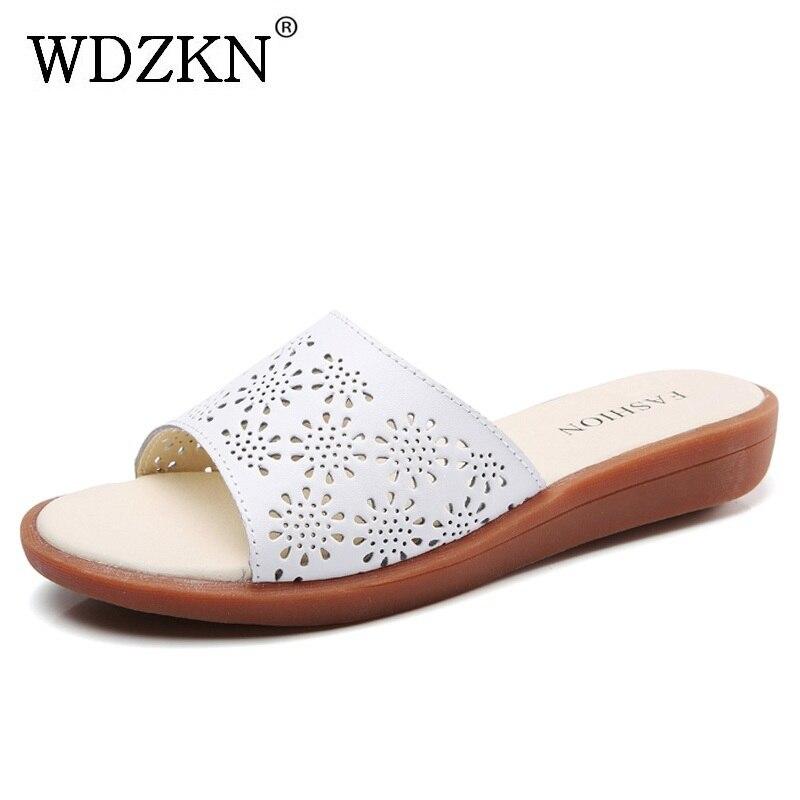 WDZKN 2018 Для женщин тапочки летние мягкие Разделение кожа открытый носок низкой танкетке полые вне тапочки без застежки обувь размер 35-41