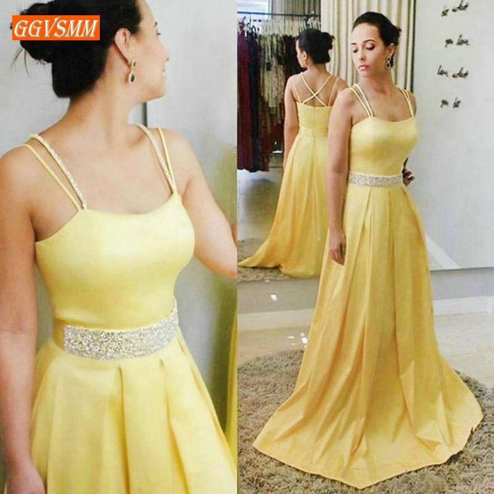 Fashion Yellow Formal   Dress   Long   Prom     Dresses   2019   Prom   Gown Party SatinSequined A-Line Floor Length Special Occasion   Dresses