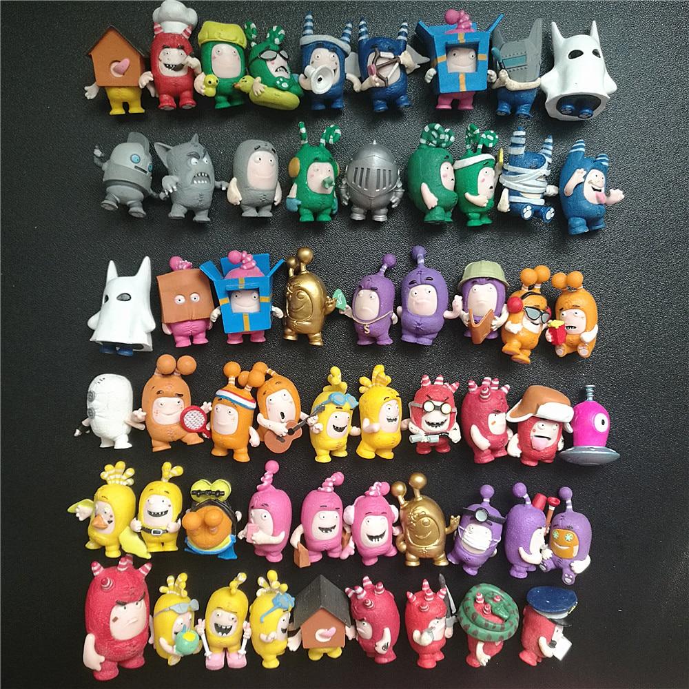 8pcs No Repeat 4cm Cartoon Kawaii Oddbods Action Figures Dolls  PVC Brave Rescue Block Model Toy D11