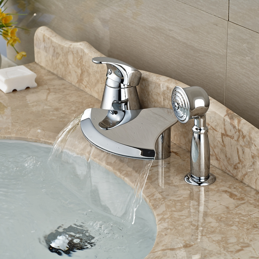 Wholesale And Retail Promotion Deck Mounted Chrome Brass Bathroom Tub Faucet 3 pcs W/ Hand Shower Diverter wholesale and retail promotion deck mounted chrome brass waterfall spout bathroom tub faucet w hand shower