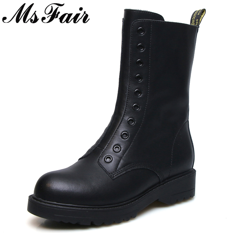 MSFAIR Round Toe Square heel Women Boots Fashion Zipper Mid Heel Ankle Boots Women Shoes Genuine Leather Martin Boots Woman round toe flat heel zipper ankle boots
