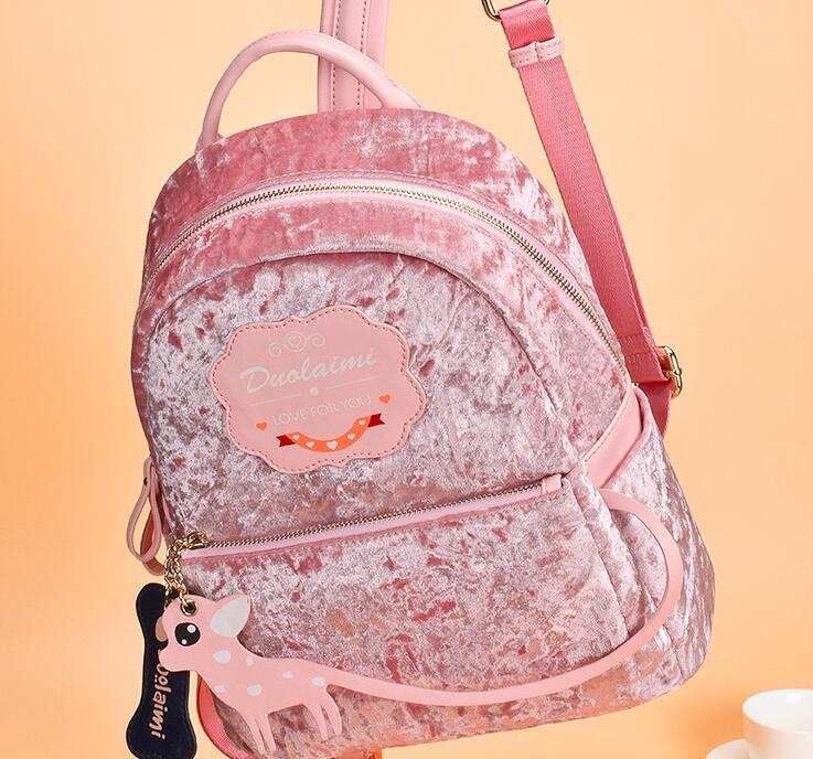 Angelatracy 2019 nouveauté cerf rose dessin animé mignon velours coréen grand livre étudiant sac femmes deux sac à bandoulière sac à dos