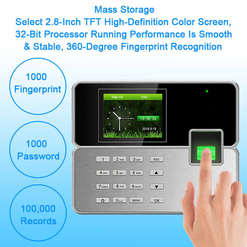 OULET Biometric Time Attendance System TCP/IP USB Fingerprint Reader Access  Control System Attendance Clock Employees Device