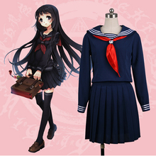 Anime Hell Girl Enma Ai Cosplay Costume JK Uniform Japanese High School Uniform Halloween Sailor Suit Full Sleeve Summer Dress