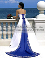 Verdadeiro amostra bordado e frisado cetim espanhol estilo roxo e branco vestidos de noite robe de mariage 2015 vestidos de novia