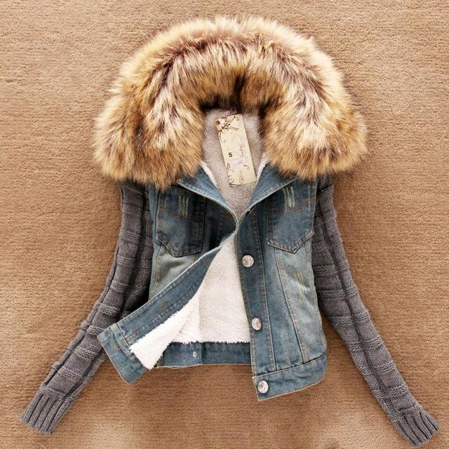 Women Newest Winter Autumn Denim Coat Jacket Korean Version Nagymaros Collar Wool Coat Sleeve Denim Short Jacket