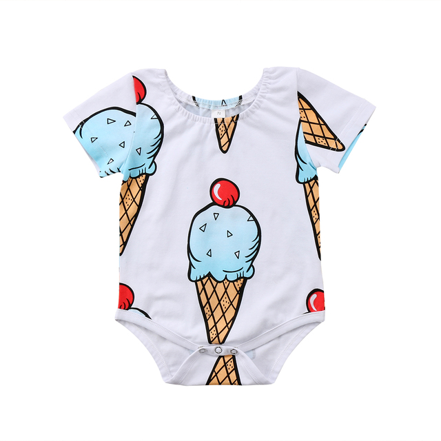 ea258751d Summer Cute Newborn Infant Baby Boy Girls Ice Cream Short Sleeve Romper  Jumpsuit Clothes Outfits