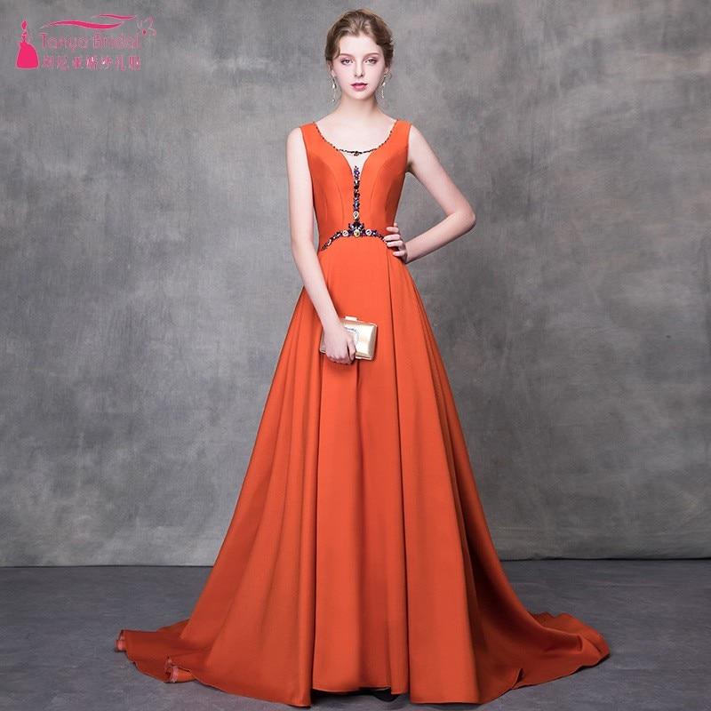 TANYA Caramel color A Line long Evening Dress Scoop Neck Formal Prom Dresses Lace Up Back 2019 vestidos de fiesta de noche JQ224