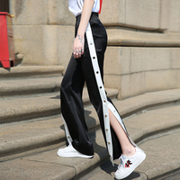 Fashion Women All macth Splice Color Side Buckle Loose trouser Elastic Waist Pants Casual Female cotton Sweatpants spring Summer