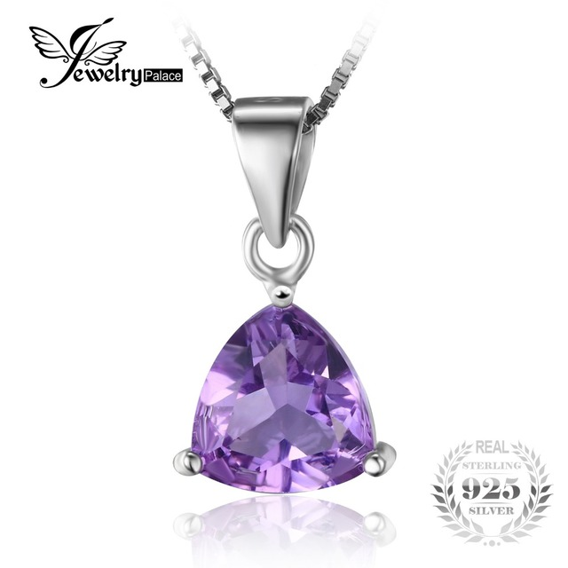 Jewelrypalace trilhões 1.6ct natural roxo ametista birthstone pure 925 sterling silver solitaire pingente colar 45 cm cadeia