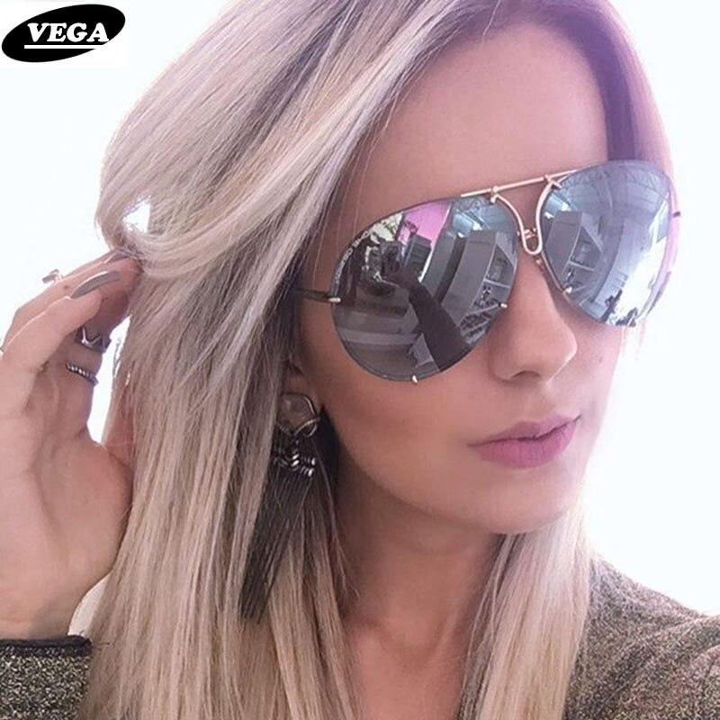 VEGA 2017 Grosses Lunettes de Soleil Femmes Dames Grand Lunettes De Soleil De L'aviation Femelle Surdimensionné Lunettes tendance lunettes de soleil femmes sans monture VG06