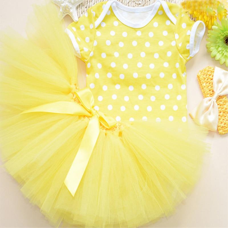 f8c0da489a46 3PCs per Set Baby Girl Yellow Polka Dots Tutu Set Infant Romper ...