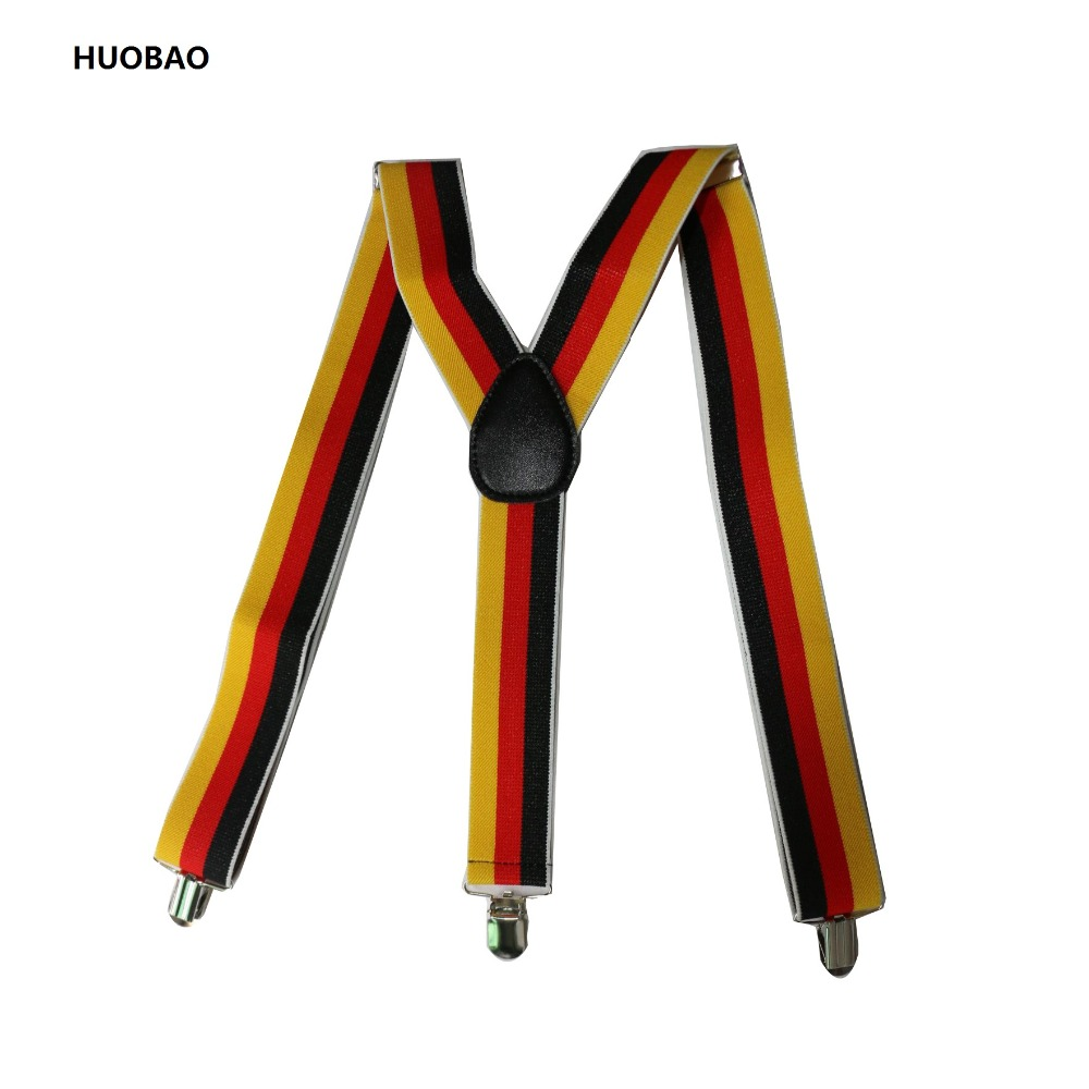 2017 New Fashion Men 3.5*100cm Adjustable 3 Clips Braces Heavy Duty Red Yellow Black Striped Suspenders For Mens