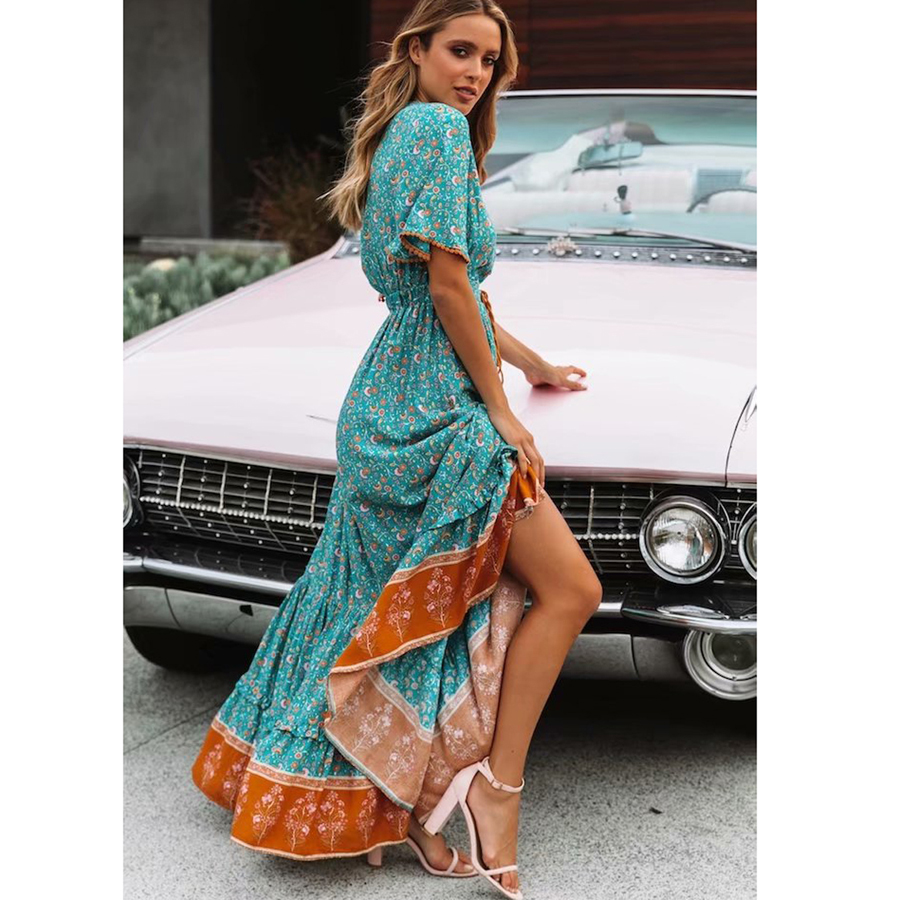 6c32f6c016 Boho long dress 2017 autumn Vintage rayon floral Embroidery v-neck Three  quarter sleeve Casual dresses hippie brand women dress. US $29.54. View  Offer