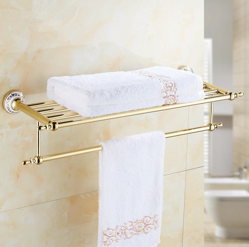 Gold finish bathroom towel holder wall mounted towel rack - Bathroom accessories towel bars ...